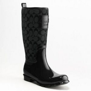 "Coach Pearl black signature ""C"" rain boots size 7"